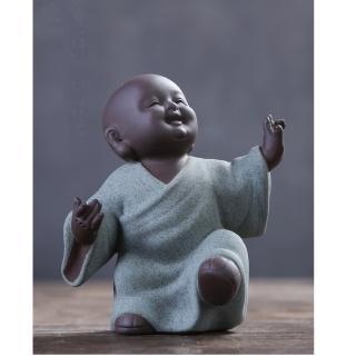 【原藝坊】紫砂陶瓷 歡欣鼓舞 小沙彌擺飾(欣 小和尚)