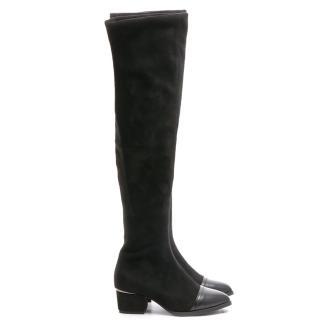 【FNACE】完美比例.素面絨質直套.過膝靴(百搭黑)