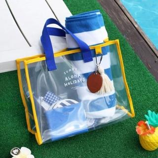 【WEEKEIGHT】時尚簡約多功能全透明防水PVC手提袋/購物袋