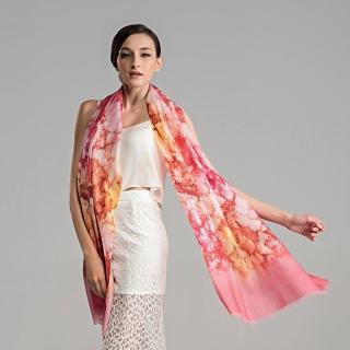 【ZANA】100% 70支純羊毛落楓飛舞噴繪印花保暖披肩 圍巾(2款任選)