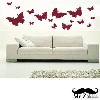 【Mr.Zakka】時尚居家創意風格DIY可移式壁貼(蝴蝶飛舞)