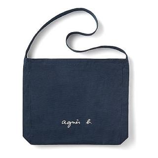 【agnes b.】agnes b. Voyage 白色LOGO帆布肩背包 深藍