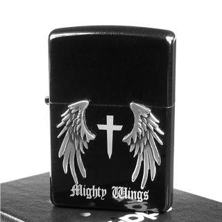 【Zippo】日系-Mighty Wings-天使翅膀立體貼飾打火機(黑)