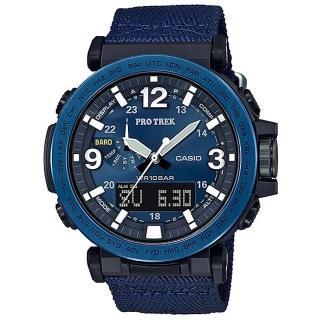 【CASIO 卡西歐】PRO TREK 大型螢幕抗低溫數位羅盤登山錶-不鏽鋼藍圈(PRG-600YB-2)