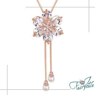 【伊飾童話】璀璨水晶花*珍珠金繽流蘇伸縮長鍊