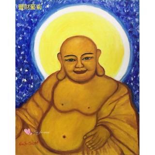 【豐財藝術】Namo Maitreya歡喜彌勒佛能量真跡油畫(佛像油畫藝術收藏首選)