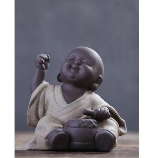 【原藝坊】紫砂陶瓷 歡欣鼓舞 小沙彌擺飾(鼓 小和尚)