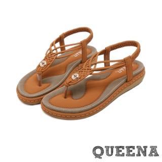 【QUEENA】個性時尚線繩編織T字經典厚底羅馬涼鞋(棕)