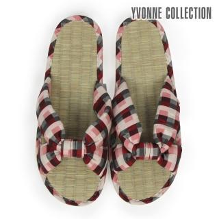 【Yvonne Collection】格紋交叉藺草拖鞋(紅)