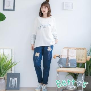 【betty's 貝蒂思】動物拼布彈性腰圍休閒長褲(寶藍)