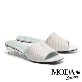 【MODA Luxury】柔嫩色彩牛皮方頭低跟穆勒拖鞋(白)