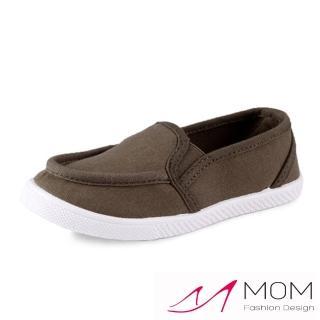 【MOM】韓版休閒舒適帆布鞋 懶人樂福鞋 親子童鞋(軍綠)