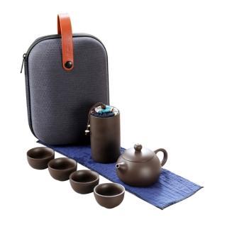 【PUSH!】茶具旅行茶具便攜包快客杯一壺四杯紫砂功夫旅遊茶壺套裝(D211)