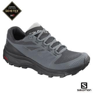 【salomon】低筒登山鞋 GORETEX 防水 女 OUTline(暴綠/黑/月球岩灰)