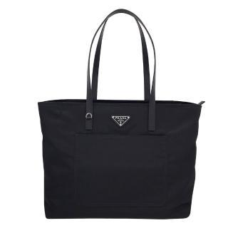 【PRADA 普拉達】1BG052 黑(口袋 托特購物包)