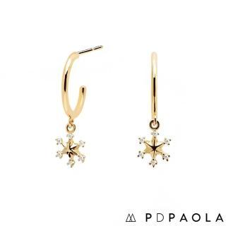 【PDPAOLA】西班牙精品 Vaquero 晶鑽雪花鍍18K金鋯石耳環