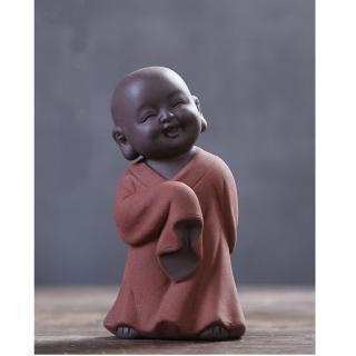 【原藝坊】紫砂陶瓷 歡欣鼓舞 小沙彌擺飾(舞 小和尚)
