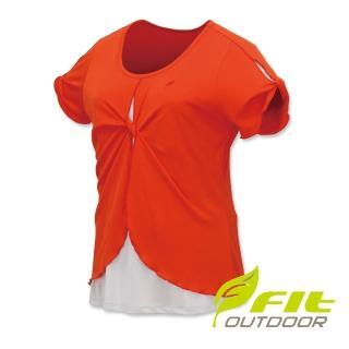 【Fit 維特】女-吸排抗UV假兩件圓領衫-桔紅 ES2112-25(圓領/抗UV/休閒上衣)