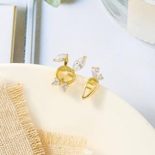 【HaNA 梨花】韓國925銀針兔子愛吃胡蘿蔔俏皮耳環
