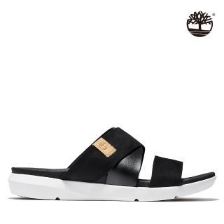 【Timberland】女款黑色磨沙革經典交織涼鞋(A2AH7015)