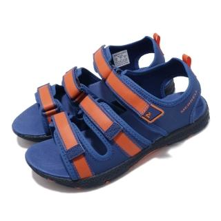 【MERRELL】涼拖鞋 M-Hydro Creek 女鞋 魔鬼氈 鞋面可調 夏日必備 透氣 中大童 藍 橘(MK262388)