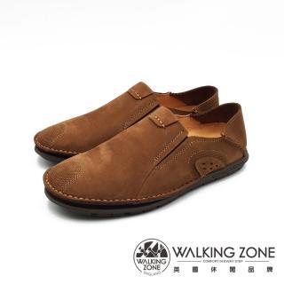 【WALKING ZONE】可踩腳休閒鞋 開車鞋 男鞋(淺棕)