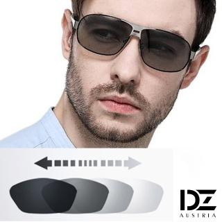 【DZ】UV400防曬偏光變色太陽眼鏡墨鏡-悍將個性變色片(黑框)