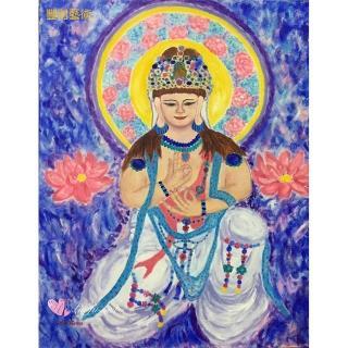 【豐財藝術】Namo Avalokiteshvara 童真蓮華寶冠觀世音菩薩能量真跡油畫(佛像油畫藝術收藏首選)