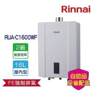 【林內★買就送TESCOM整髮梳★】RUA-C1600WF屋內大廈型強制排氣熱水器16L(全省運送無安裝)