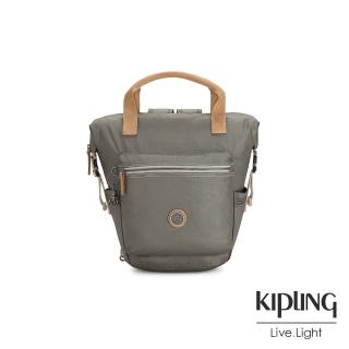 【KIPLING】邊緣地帶系列低調皮革金屬灰褐色雙側插扣手提後背兩用包-TSUKI S