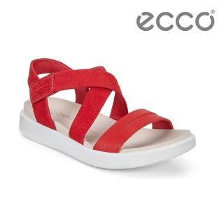 【ecco】FLOWT W 亮麗律動交叉平底涼鞋 女鞋(紅色 27361351183)