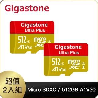 【Gigastone 立達國際】512GB micro SDXC UHS-Ⅰ U3 記憶卡超值2入組(512G A1V30 高速記憶卡)