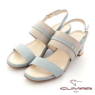【CUMAR】鉚釘撞色兩截式一字帶粗跟涼鞋(淺水藍)