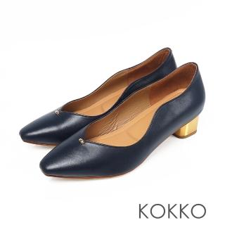 【KOKKO 集團】摩登印象小方頭V口軟底低跟鞋(經典藍)