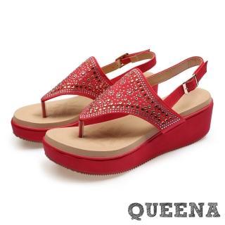 【QUEENA】波希米亞民族風華麗美鑽鉚釘拼貼厚底夾腳涼鞋(紅)