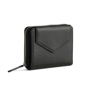 【MARKBERG】Laura 丹麥手工牛皮蘿拉側翻雙層短夾 錢包(極簡黑)