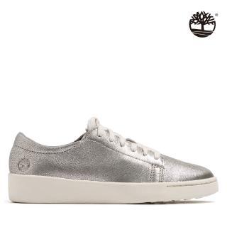 【Timberland】女款銀色全粒面革休閒鞋(A26PW040)