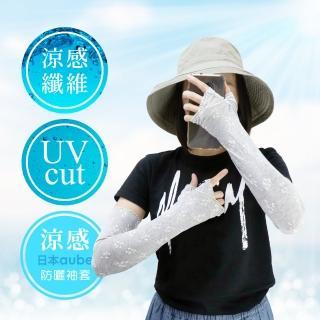【日本AUBE】花邊小碎花抗UV涼感防曬袖套(日本進口)