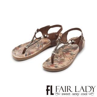 【FAIR LADY】PORRONET串珠彩繪夾腳兩穿涼拖鞋(摩卡、122220)