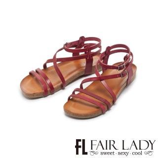 【FAIR LADY】PORRONET全真皮交叉繞帶繫踝涼鞋(酒紅、122217)