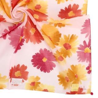 【Sybilla】繽紛水彩花卉純綿帕巾領巾(黃花/淺粉紅)