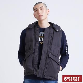【5th STREET】男有帽無袖羽絨背心-黑色