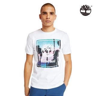 【Timberland】男款白色海灘印花有機棉短袖圓頂T恤(A2B37100)
