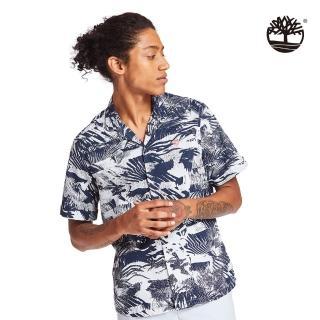 【Timberland】男款深寶石藍夏日森林府綢短袖襯衫(A2BBDAE8)