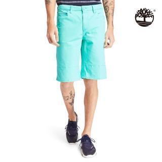 【Timberland】男款比斯開灣綠色夏日森林印花斜紋布卷邊短褲(A2BUSAF0)