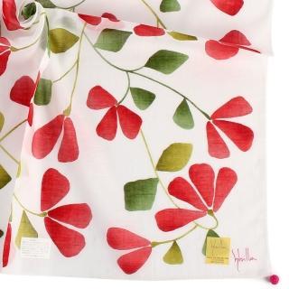 【Sybilla】優雅花藤純綿帕巾領巾(紅花/白色)