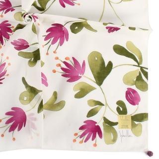 【Sybilla】清新手繪花朵純綿帕巾領巾(紫花/白色)