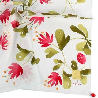 【Sybilla】清新手繪花朵純綿帕巾領巾(紅花/淺藍色)