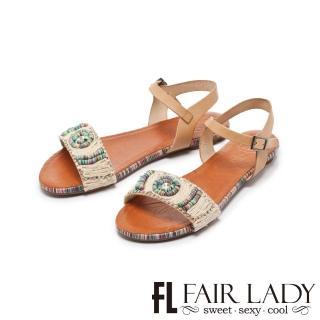 【FAIR LADY】PORRONET彩線編織水鑽一字平底涼鞋(棕、122212)