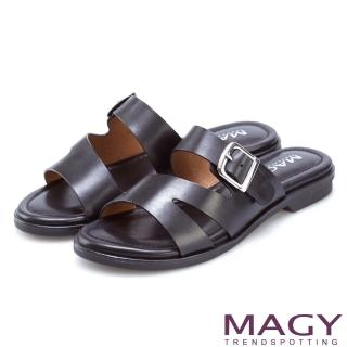 【MAGY】樂活渡假 造型剪裁皮革平底拖鞋(黑色)